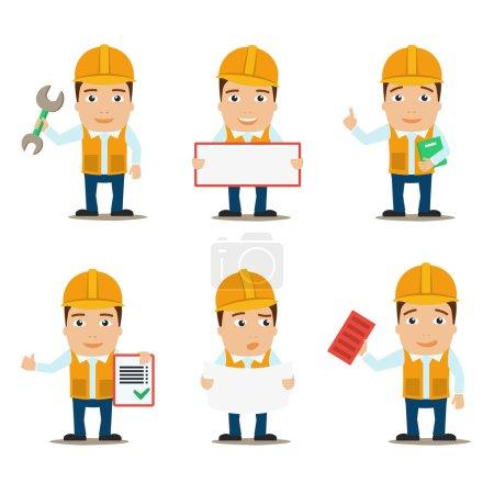 Illustration pour Bâtisseur travailleur de la construction et ingénieur caractères masculins jeu isolé vectoriel illustration - image libre de droit