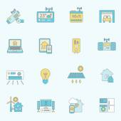 Smart home icons flat line
