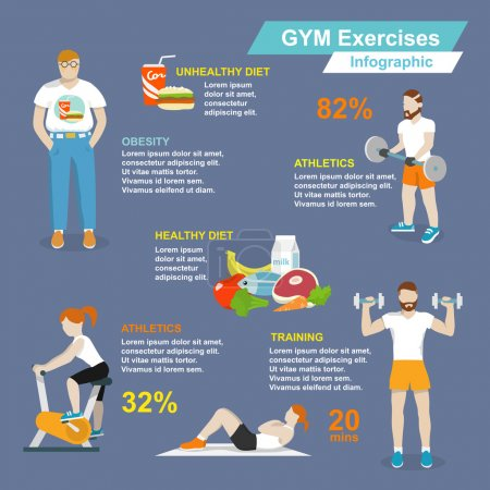 Illustration for Gym sport exercises fitness and healthy lifestyle infographic set vector illustration - Royalty Free Image
