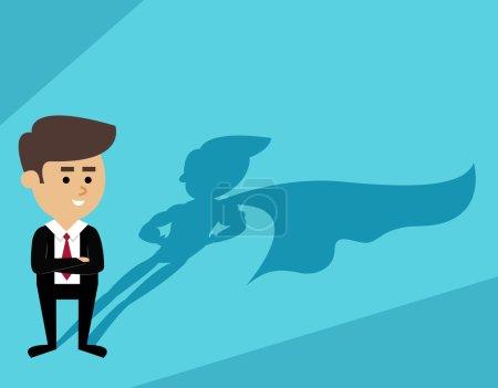 Illustration for Businessman with superhero cape shadow scene vector illustration - Royalty Free Image