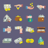 Money coin and paper cash icon flat set isolated vector illustration