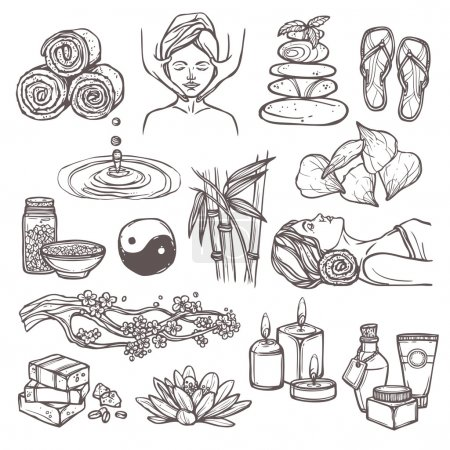 Illustration for Spa therapy beauty health care alternative medicine sketch icons set isolated vector illustration - Royalty Free Image
