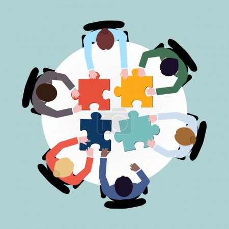 Illustration pour Business team meeting brainstorming concept top view groupe personnes sur table avec illustration vectorielle puzzle - image libre de droit