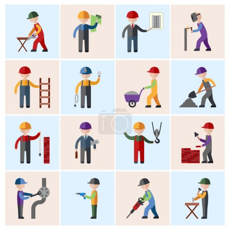 Illustration for Construction worker people silhouettes icons flat set isolated vector illustration - Royalty Free Image
