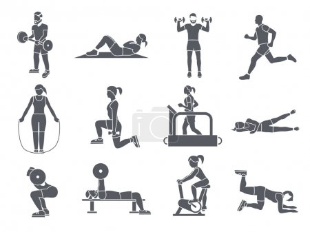 Illustration for Gym sport exercises fitness weight loss and healthy lifestyle icons set vector illustration - Royalty Free Image