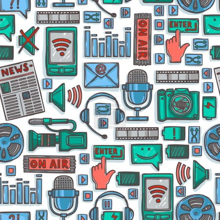 Media sketch icons seamless pattern
