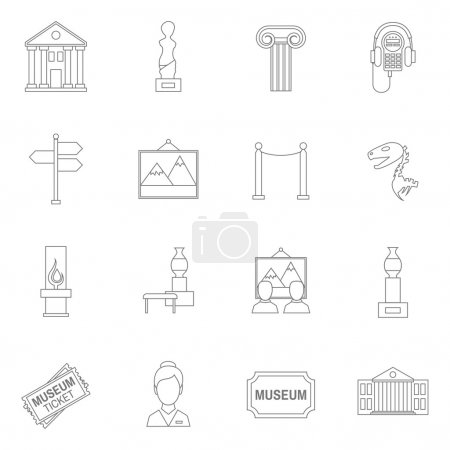 Illustration for Museum art exhibition icons outline set isolated vector illustration - Royalty Free Image
