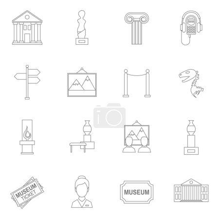 Photo pour Musée art exposition icônes contour ensemble isolé vecteur illustration - image libre de droit