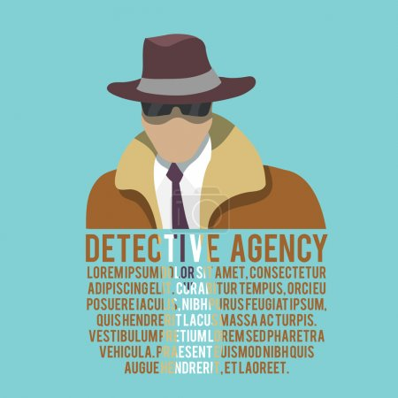 Illustration for Detective agency poster with male silhouette in hat and glasses vector illustration - Royalty Free Image