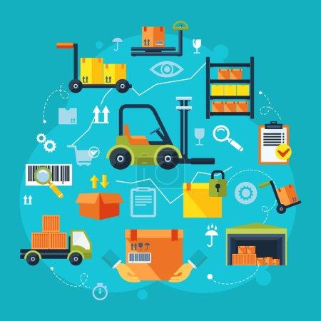 Illustration for Warehouse icons flat set of storage decorative elements vector illustration - Royalty Free Image