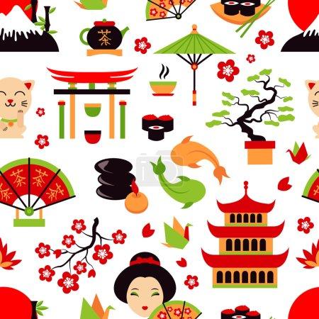 Illustration pour Symboles du Japon sertis d'icônes traditionnelles de nourriture et de voyage illustration vectorielle sans couture - image libre de droit