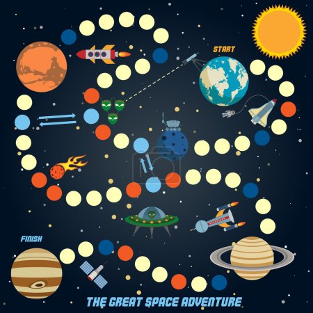 Illustration for Space quest game with start finish and astronomy icons on background vector illustration - Royalty Free Image