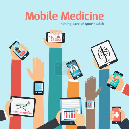 Illustration for Mobile health concept with human hands holding gadgets vector illustration - Royalty Free Image
