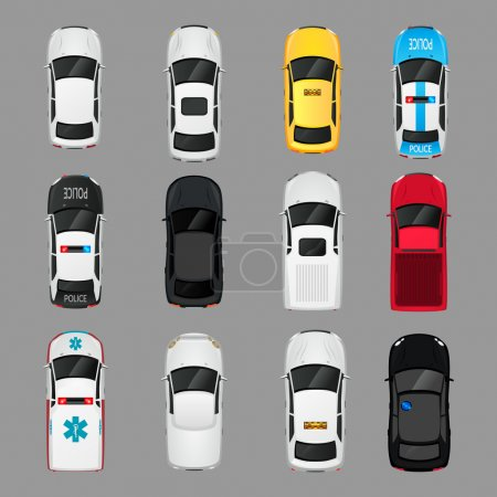 Illustration for Cars transport top view icons set isolated vector illustration - Royalty Free Image