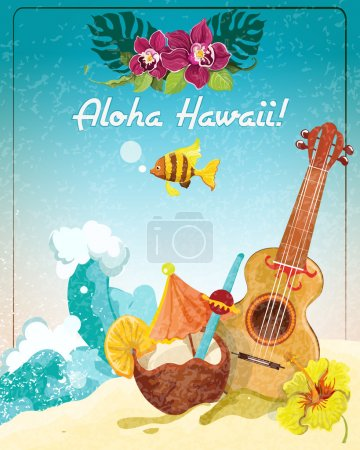 Illustration for Hawaii guitar tropical beach vacation advertisement poster with coconut refreshment colada drink sketch color abstract vector illustration - Royalty Free Image