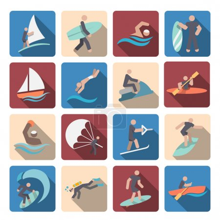Water sports icons set colored
