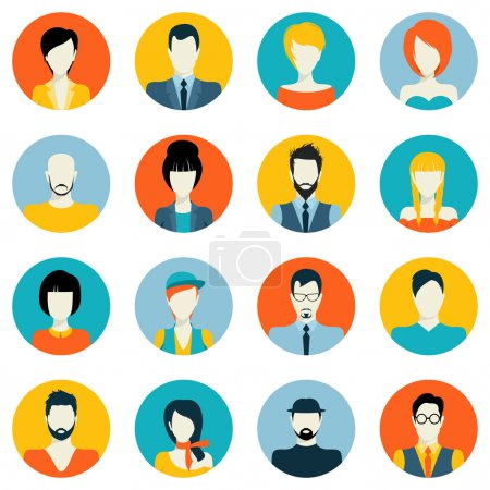 Illustration for People avatar male and female human faces social network icons set isolated vector illustration - Royalty Free Image