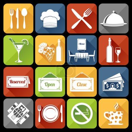 Illustration pour Restaurant cuisine cuisine plat icônes ensemble avec plateau de table plat illustration vectorielle isolée - image libre de droit
