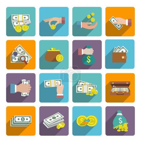 Illustration pour Argent pile sac portefeuille icône plat ensemble avec des éléments de richesse du marché des investissements illustration vectorielle isolée - image libre de droit