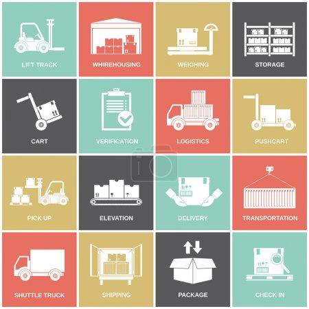Illustration for Warehouse icons flat set of storage cart verification isolated vector illustration - Royalty Free Image