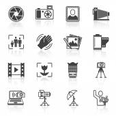 Photography equipment camera photo icons black isolated vector illustration