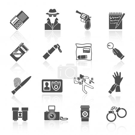 Illustration for Police detective and crime evidence icons black set with handcuffs magnifier fingerprints isolated vector illustration - Royalty Free Image