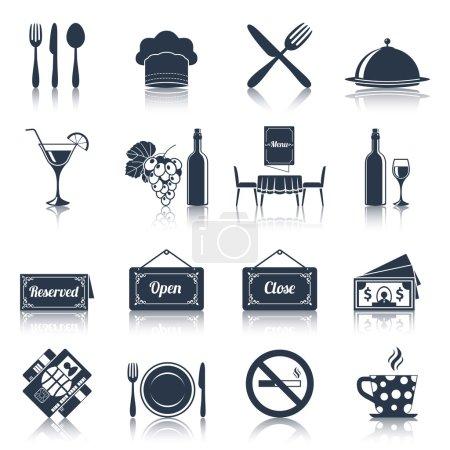 Illustration pour Restaurant cuisine cuisine icônes noires avec plaque de fourchette couteau illustration vectorielle isolée - image libre de droit