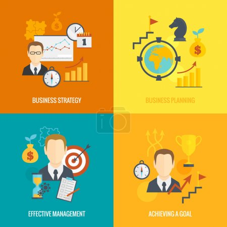 Illustration for Business strategy planning icon flat set with effective management achieving a goal isolated vector illustration - Royalty Free Image