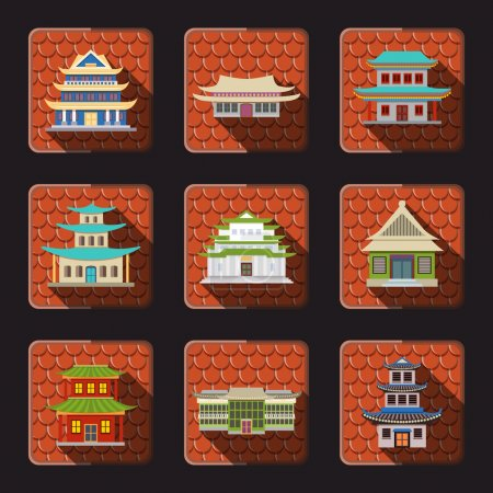 Illustration pour Maison chinoise traditionnelle bâtiments orientaux en bois icônes ensemble avec fond carrelage illustration vectorielle isolée - image libre de droit