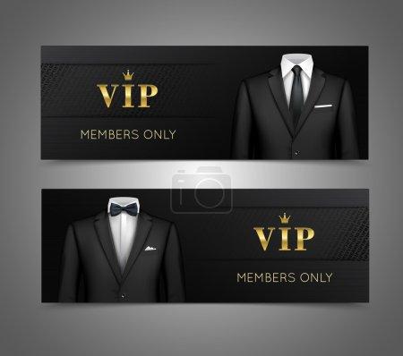 Businessman suit vip cards horizontal banners