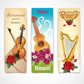 Musical instruments vertical decorative banners set with harp guitar and violin fiddle flowers isolated abstract vector illustration