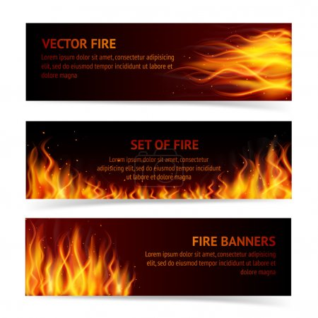 Illustration for Burning fire campfire hot flame strokes realistic horizontal banner set isolated vector illustration - Royalty Free Image