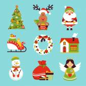 Christmas new year holiday decoration  icons set isolated vector illustration