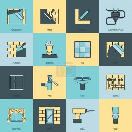 Illustration for Home repair flat line icons set with wallpaper paint marking isolated vector illustration - Royalty Free Image