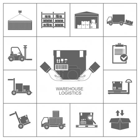 Illustration for Warehouse set of storage and logistic black icons vector illustration - Royalty Free Image