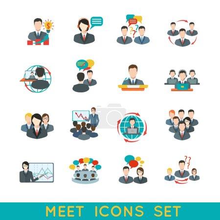 Illustration pour Réunion d'affaires icônes plates ensemble d'éléments de conférence de planification de partenariat illustration vectorielle isolée . - image libre de droit