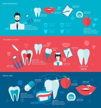Illustration pour Dents soins buccodentaires santé buccodentaire ensemble avec inspection traitement dentiste illustration vectorielle isolée - image libre de droit