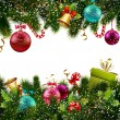 Merry christmas and happy new year greeting postca...