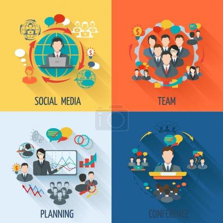 Illustration pour Icône de réunion plate avec conférence de planification de l'équipe des médias sociaux illustration vectorielle isolée - image libre de droit