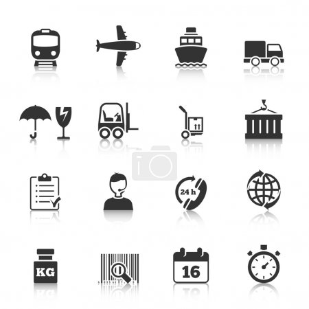 Illustration for Logistic symbols of packing loading worldwide cargo transportation delivery service black icons set abstract isolated vector illustration - Royalty Free Image