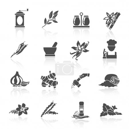 Illustration for Herbs and spices black icons set of vanilla basil nutmeg isolated vector illustration - Royalty Free Image