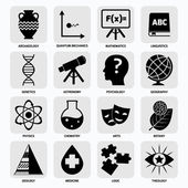 Science areas icons black