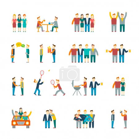 Illustration for Friends and friendly relationship social team flat icon set isolated vector illustration - Royalty Free Image