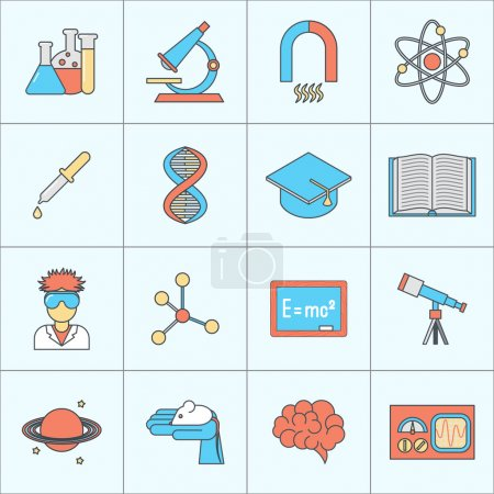 Science and research icon flat line