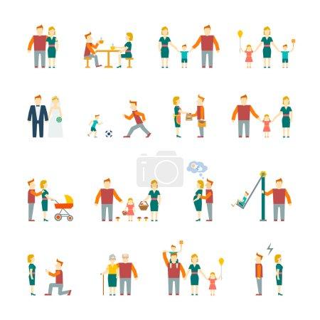 Illustration pour Chiffres de la famille icônes plates ensemble de parents enfants couple marié isolé vecteur illustration - image libre de droit