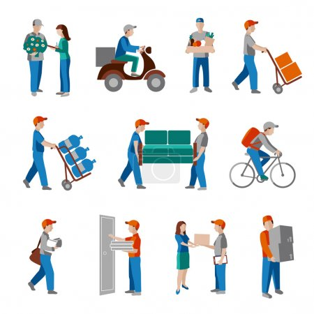 Illustration for Delivery person freight logistic business industry icons flat set isolated vector illustration. - Royalty Free Image