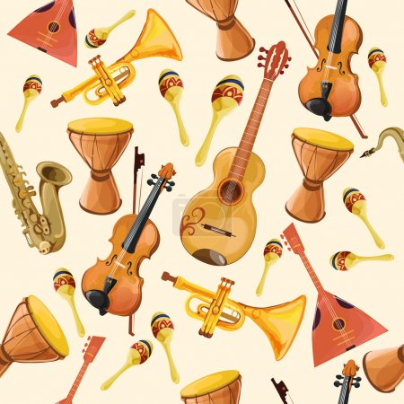 Illustration pour Ensemble de musique folklorique instruments motif sans couture avec corne batterie guitare et violon motif sans couture illustration vectorielle de couleur - image libre de droit