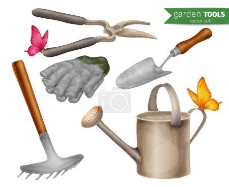 Illustration pour Outils de jardin matériel agricole agricole icônes décoratives ensemble illustration vectorielle isolée . - image libre de droit