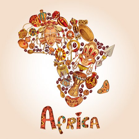 Illustration for Africa sketch decorative icons in african continent shape travel concept vector illustration - Royalty Free Image