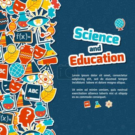 Illustration pour Espace science et éducation autocollants en papier coloré sur fond bleu illustration vectorielle - image libre de droit
